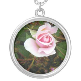 Pink Rosebud Round Pendant Necklace