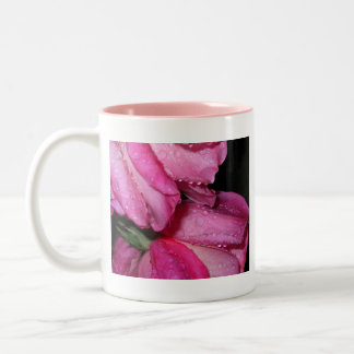 Pink roses after a rain Two-Tone coffee mug