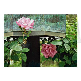 Pink Roses Against Weathered Birdhouse Card