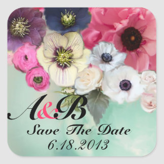 PINK ROSES AND ANEMONE FLOWERS Save the date Square Sticker