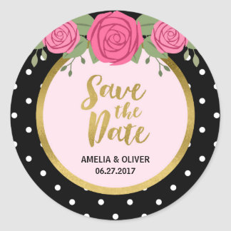 Pink Roses and Black White Polka Dot Save the Date Round Sticker