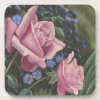 Pink Roses And Blue Flowers Coasters