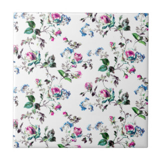 Pink Roses and Blue Flowers Floral Design Tile