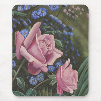 Pink Roses And Blue Flowers Mousepad
