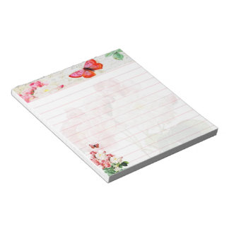 Pink roses and butterfly notepad