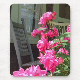 Pink Roses and Chair - Martha's Vineyard Cottage Mouse Pad