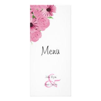Pink Roses and Daisies Flower Wedding Menu