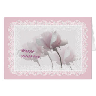Pink Roses and Digital Lace Birthday Card