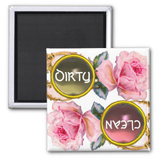 PINK ROSES AND GEM STONES DIRTY CLEAN DISHWASHER MAGNET