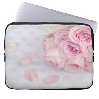 Pink Roses and Grey Dots Laptop Sleeve