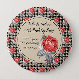 Pink roses and houndstooth Happy Birthday 4 Inch Round Button