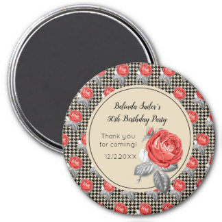Pink roses and houndstooth Happy Birthday Magnet