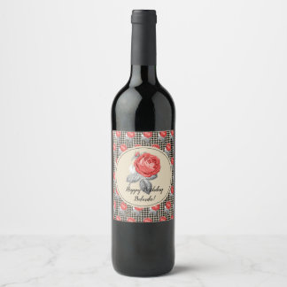 Pink roses and houndstooth Happy Birthday Wine Label