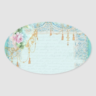 Pink Roses and Lace Stickers Tags