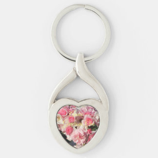 Pink Roses and Name Keychain