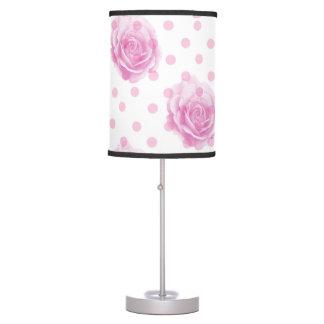 Pink roses and polka dots table lamp