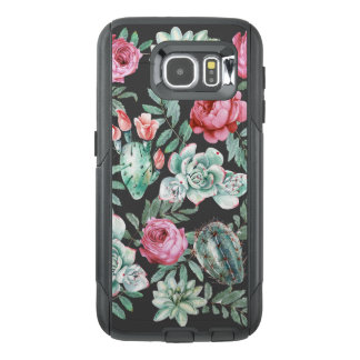 Pink Roses and Succulent Cactus Pattern on Black OtterBox Samsung Galaxy S6 Case