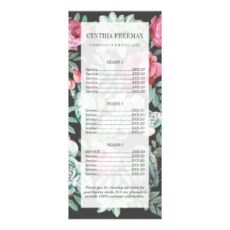 Pink Roses and Succulent Cactus Pattern on Black Rack Card