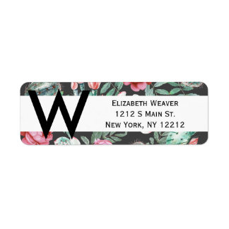 Pink Roses and Succulent Cactus Pattern on Black Return Address Label