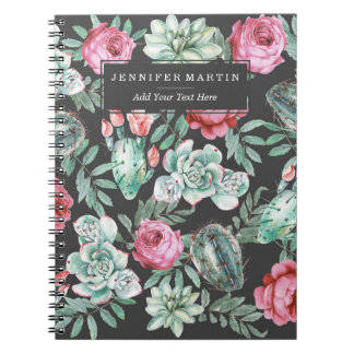 Pink Roses and Succulent Cactus Pattern on Black Spiral Notebook