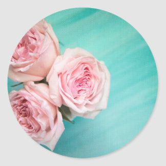 Pink roses and teal background round sticker