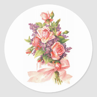 Pink Roses and Violets Classic Round Sticker