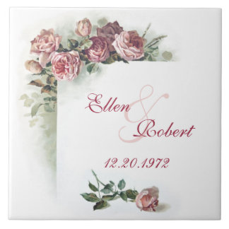 Pink roses anniversary tile