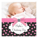 Pink Roses Baby Girl Photo Christening Personalized Invites