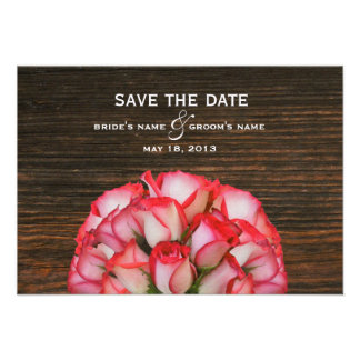 Pink Roses & Barn Wood Save The Date Announcements