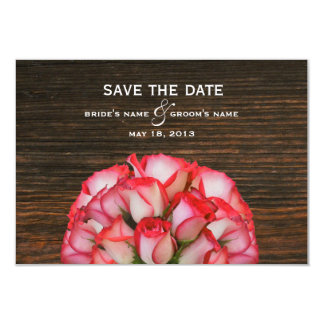 """Pink Roses & Barn Wood Save The Date 3.5"""" X 5"""" Invitation Card"""