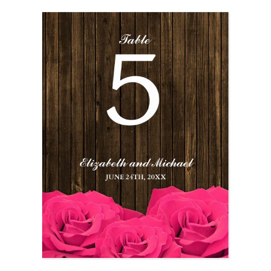 Pink Roses Barn Wood Wedding Table Number Postcard