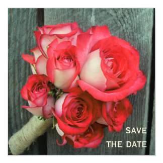"""Pink Roses & Barnwood Wedding Save The Date 5.25"""" Square Invitation Card"""
