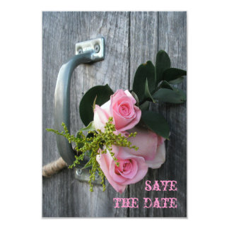 """Pink Roses & Barnwood Wedding Save The Date 3.5"""" X 5"""" Invitation Card"""