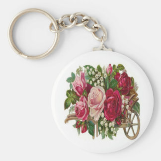 Pink Roses Basic Round Button Keychain