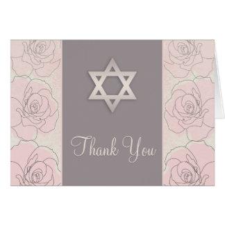 Pink roses  Bat Mitzvah Thank You Card