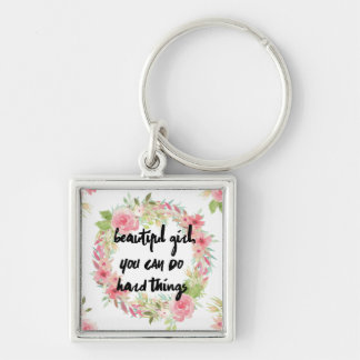 Pink Roses Beautiful Girl Keychain