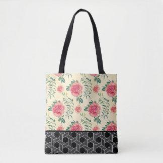 Pink Roses & Black & White Geometric Pattern Tote Bag
