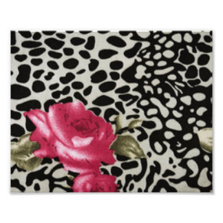 Pink Roses Black White Leopard Animal Design Art Photo