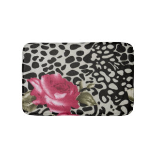 Pink Roses Black White Leopard Animal Design Bathroom Mat
