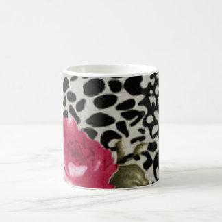 Pink Roses Black White Leopard Animal Design Coffee Mug