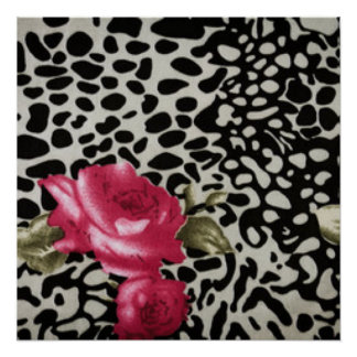 Pink Roses Black White Leopard Animal Design Perfect Poster