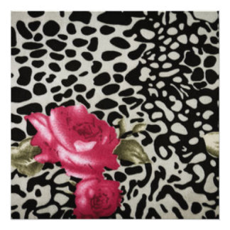 Pink Roses Black White Leopard Animal Design Photographic Print