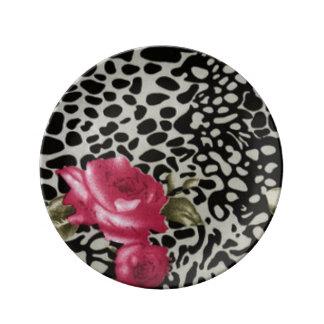 Pink Roses Black White Leopard Animal Design Plate