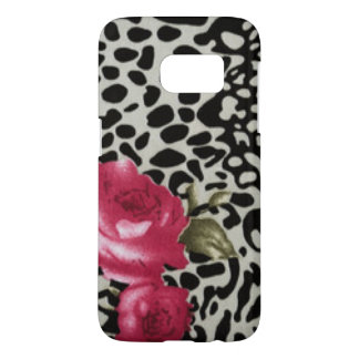 Pink Roses Black White Leopard Animal Design Samsung Galaxy S7 Case