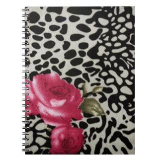 Pink Roses Black White Leopard Animal Design Spiral Notebook