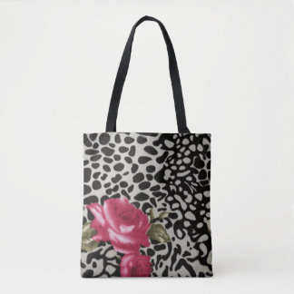 Pink Roses Black White Leopard Animal Design Tote Bag
