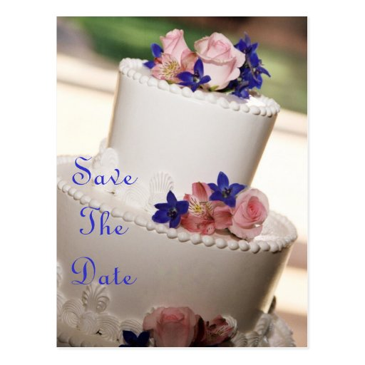 Pink Roses & Blue Cake Save The Date Postcard