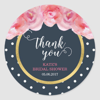 Pink Roses Blue White Polka Dots Thank You Round Sticker