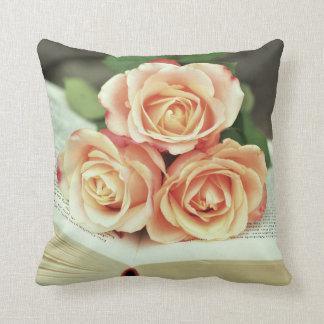 Pink Roses - Book Throw Pillow