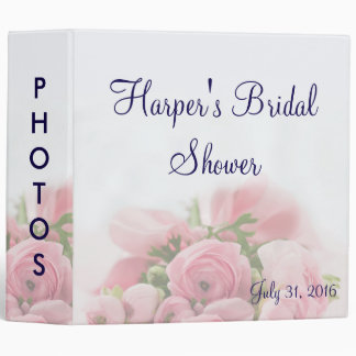 Pink Roses Bouquet Bridal Shower Photo Album 3 Ring Binder